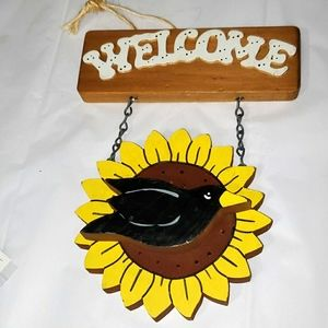 Wooden Black Crow Sunflower Welcome Sign Fall